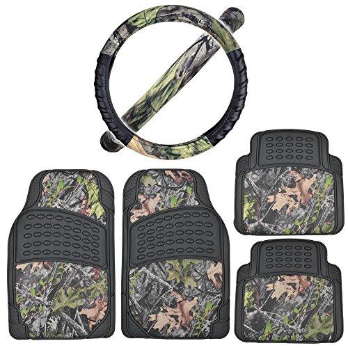 Rubber Car Floor Mats Black - Camo Inlay w/ Comfort Grip Steering Wheel Cover