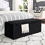 Cheap Fabroni Black Velvet Storage Bench – Shoe Storage | Upholstered | Living Room, Entryway, Bedroom | Inspired Home