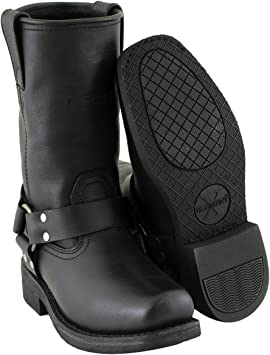 Black Leather Harness Motorcycle Boots Mens 9Womens 10