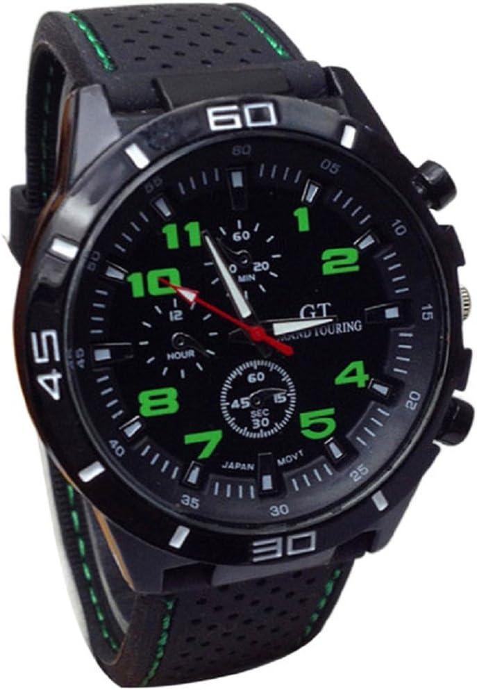 Ularma Reloj de pulsera Sport silicona de cuarzo reloj hombres (verde)