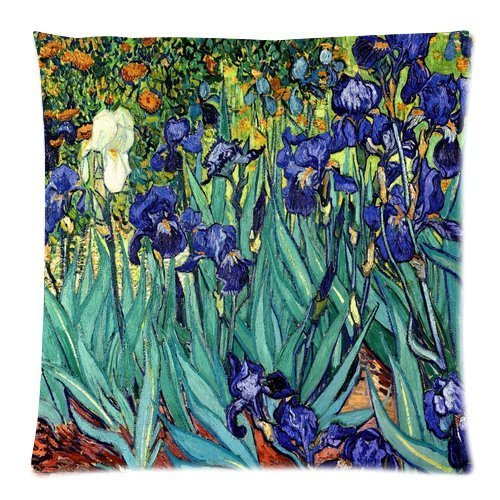 (Vincent Van Gogh Irises Saint Remy C 1889 Custom Zippered Decorative Throw Pillow Cases for Couch 18 x 18 Inches)