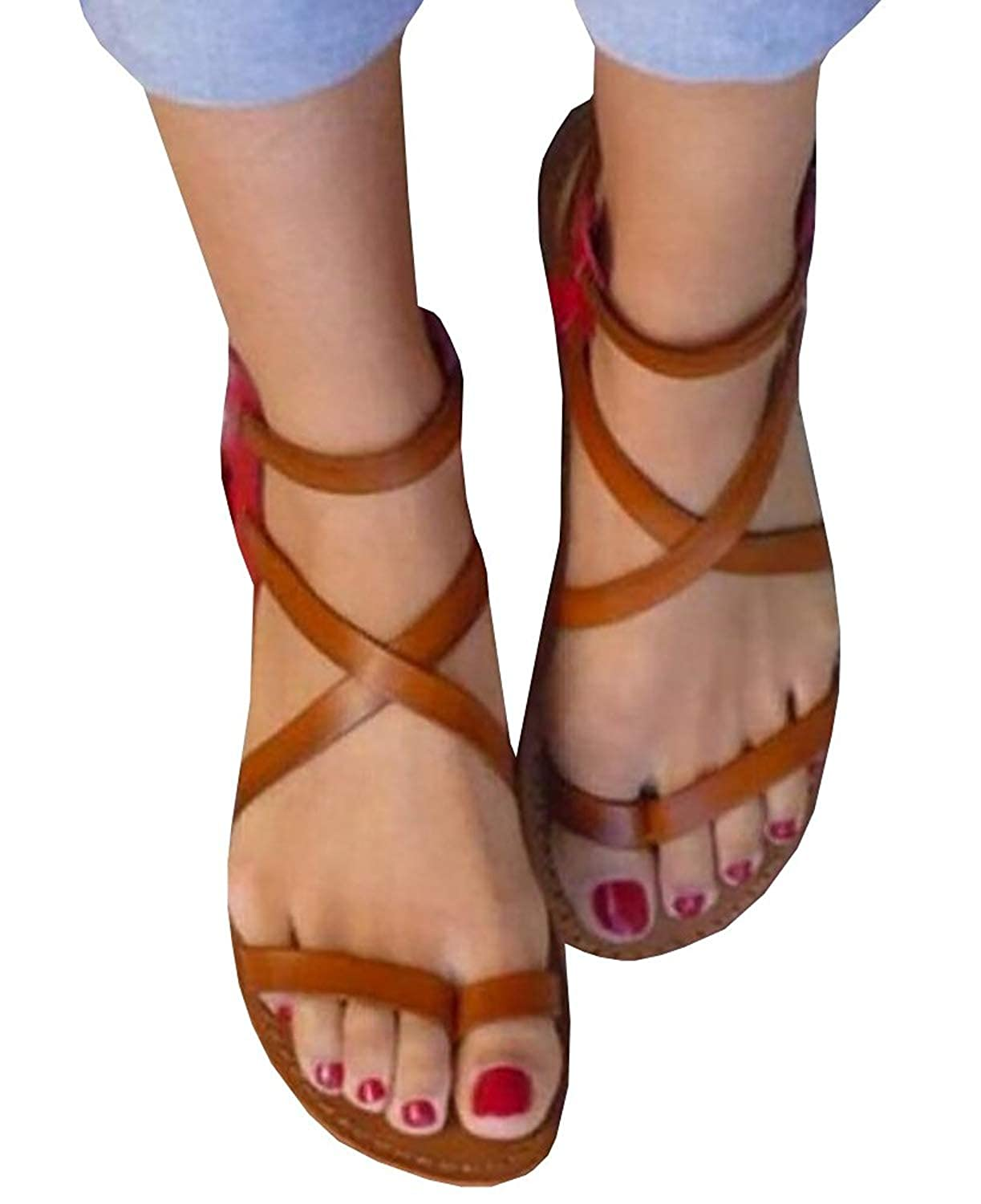 74254132de99 Synthetic sole. Cute Roman black thong strappy criss cross ankle wrap flat  summer beach gladiator sandals for women. Casual brown flip flop gladiator  ...