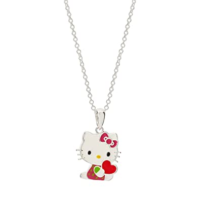 5519e773d Hello Kitty Silver Plated Enamel Kitty with Heart Pendant Necklace:  Amazon.co.uk: Jewellery