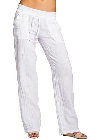 bda331d9bc2fd Caspar KHS025 Pantalon en Lin Effet Amincissant Femme: Amazon.fr: Vêtements  et accessoires
