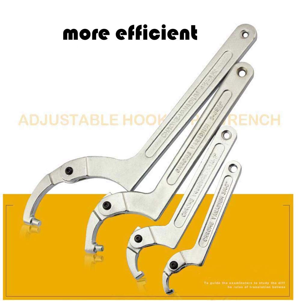 1 1//4-3 Vmotor Chrome Vanadium C Spanner Tool Adjustable Hook Wrench 32-76mm