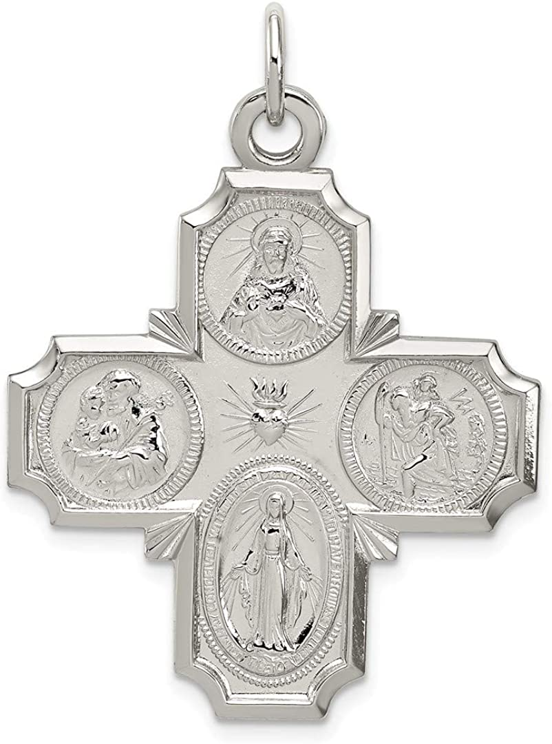 925 Sterling Silver Reversible 4 Way Medal Pendant Charm Necklace Religious Four Fine Jewelry Gifts For Women For Her