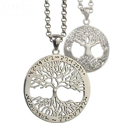 HFJ&YIE&H Collar de plata 925 hombres colgante de plata tailandesa árbol de la vida joyería niños