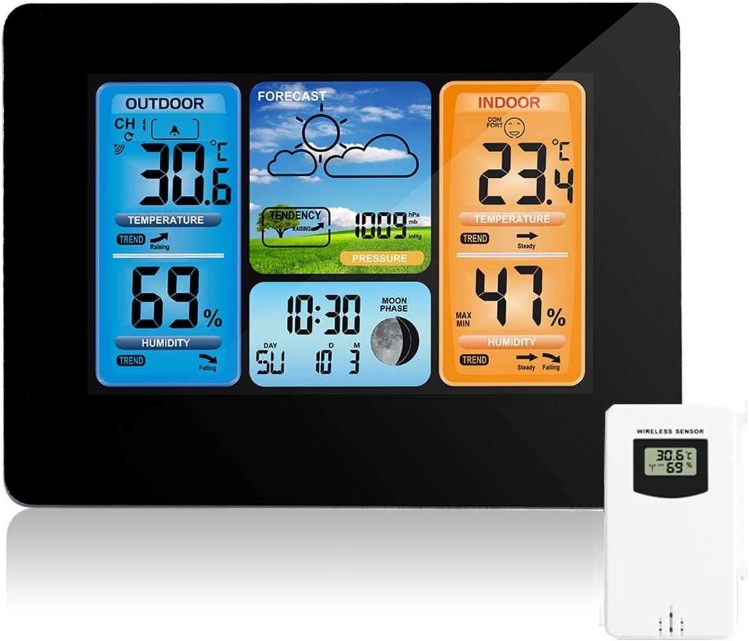 Estación meteorológica inalámbrica Pronóstico de color digital Estación meteorológica Termómetro con alerta y temperatura Humedad Barómetro Alarma Fase lunar Reloj meteorológico con sensor exterior