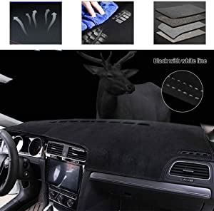 Carado Upgraded Suede Carpet Dashboard Cover Fit for Lexus GX470 2003-2009 Black with White line Sunshield Mat Carpet 1 PCS