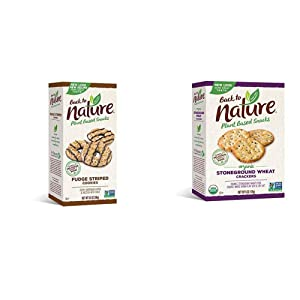 Back to Nature Cookies, Non-GMO Fudge Striped Shortbread, 8.5 Ounce (Packaging May Vary) & Crackers, Organic Stoneground Wheat, 6 Ounce (Packaging May Vary)