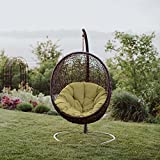 Modway EEI-739-PER-SET Encase Wicker Rattan Outdoor Patio Balcony Porch Lounge Egg Swing Chair Set with Stand Peridot