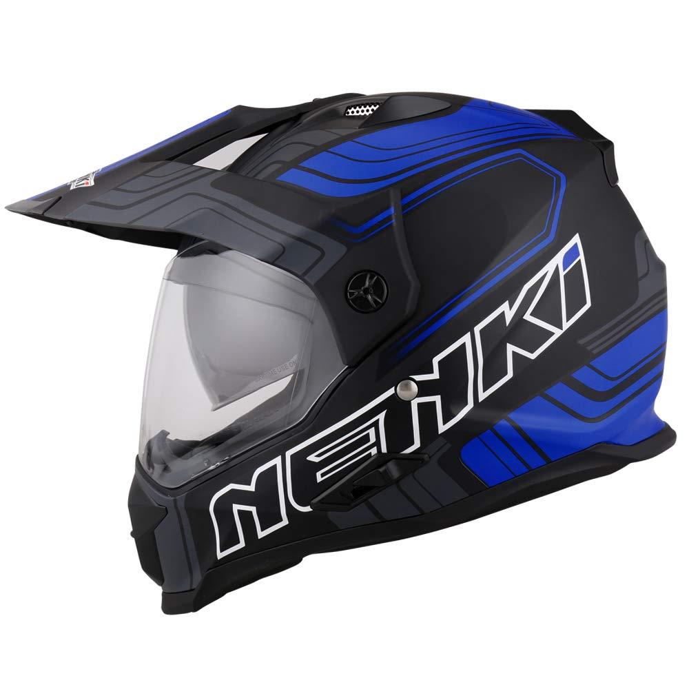 NENKI NK-313 Casque Moto Cross Enduro Adventure avec Double Visi/ères,ECE homologu/é Noir Bleu Mat, XL