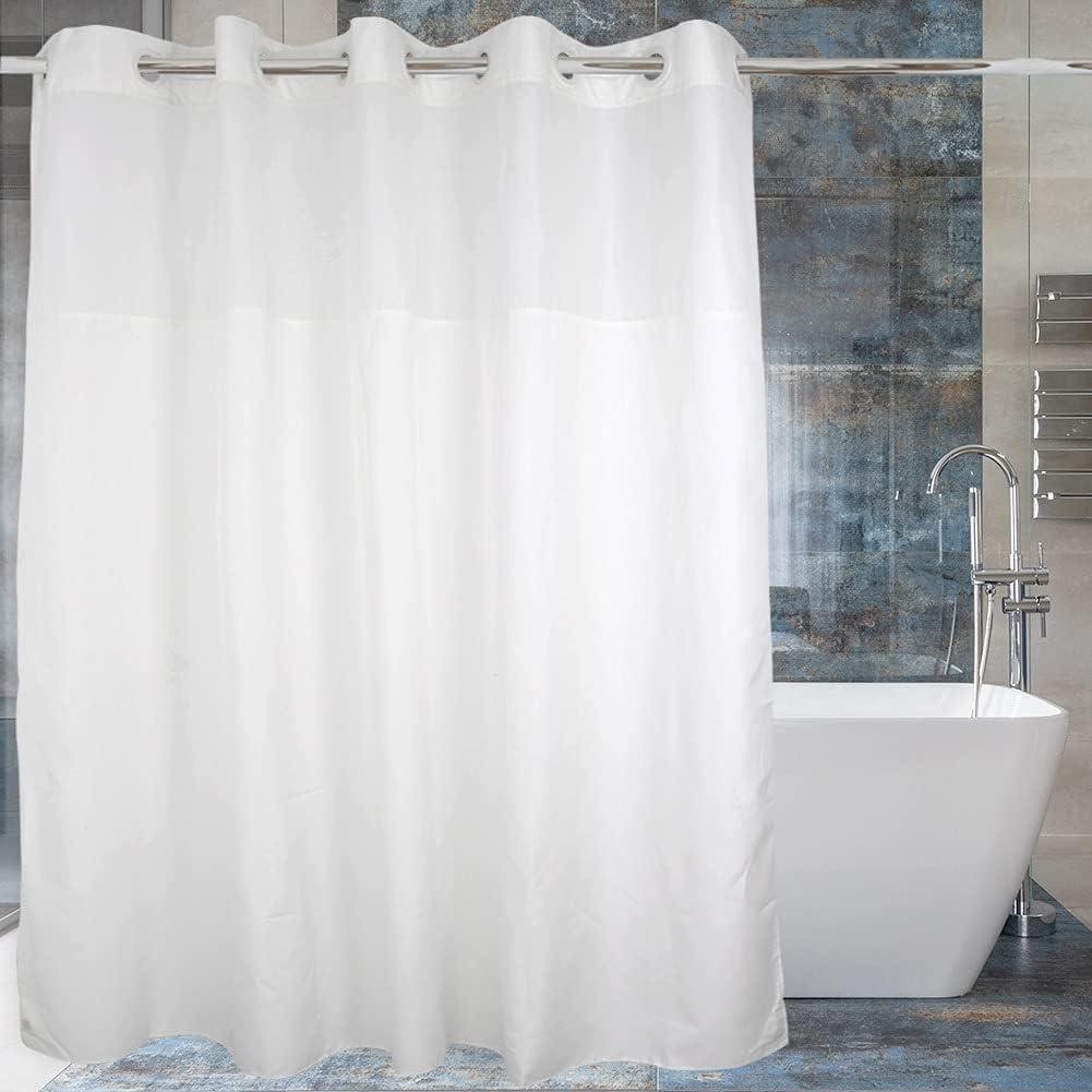 Mould Proof Bathroom Shower Curtain Banana Leaves#1 Sheer Panel Decor Hooks