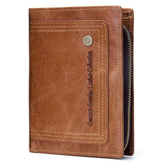 Cartera de cuero de la cartera de los hombres Capa superior de cuero de la actividad desprendible del bolsillo de la moneda Bags (Color : Brass, ...