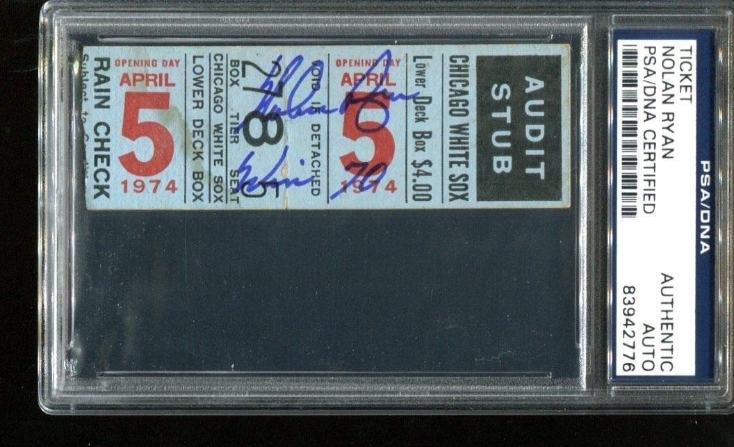Nolan Ryan Autographed Signed Ticket 70Th Win Opening Day 4/5/74 Autographed Signed PSA/DNA Authentic 2776