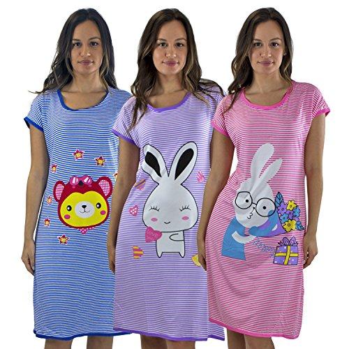 #5012 3 PACK: Short Sleeve Nightshirt/Nightshirt PINK BUNNY,PURPLE BUNNY,BLUE SUNGLASS BEAR,Set 1 - - Pink Mink Sunglasses