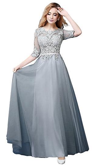 745e32312 Amazon.com  vimans Women s 2016 Long Scoop Lace Bridal Evening ...