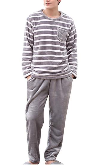 KM Men s Winter Striped Pullover Pajamas Set Thicken Coral Velvet Homewear  ... c6be96fc9