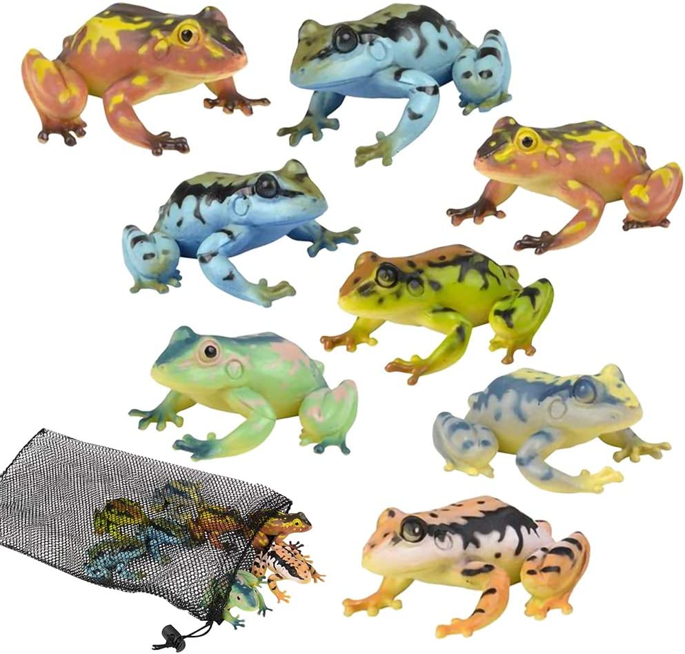 ArtCreativity Frog Figures Assortment in Mesh Bag, Pack of 8 Frog Figurines in Assorted Colors, Bath Water Toys for Kids, Party Décor, Party Favors for Boys and Girls