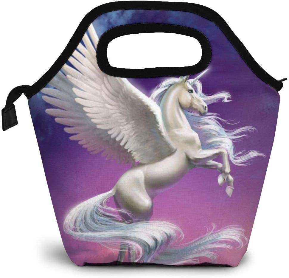 White Unicorn Horse Insulated Lunch Portable Carry Tote Picnic Storage Bag Animal Pattern Lunch Box Food Bag Gourmet Handbag Cooler Warm Pouch Tote Bag For Work Office For Women Men