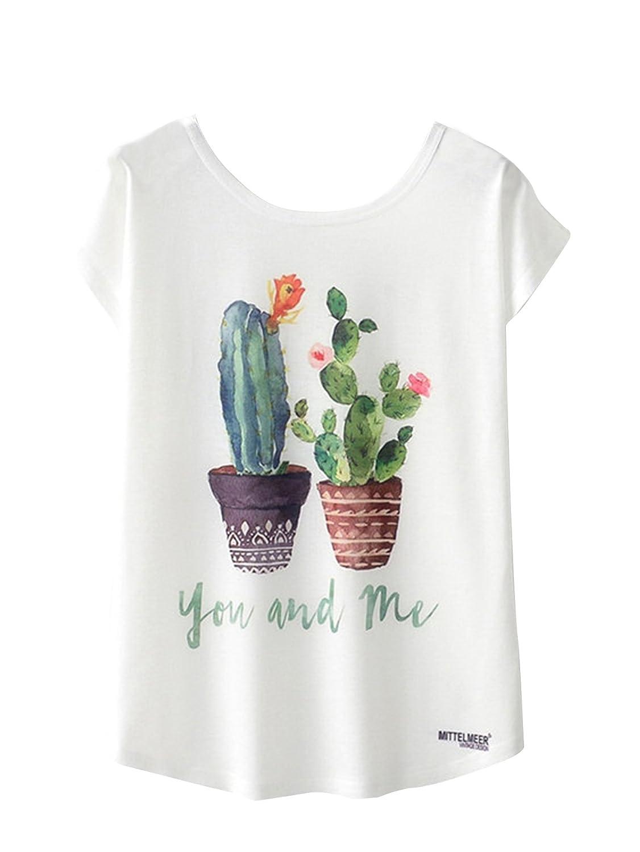 SOLYHUX Mujer Camiseta Manga Corta,Camiseta Estampada De Cactus Cuello Redondo,Blanco M-XL