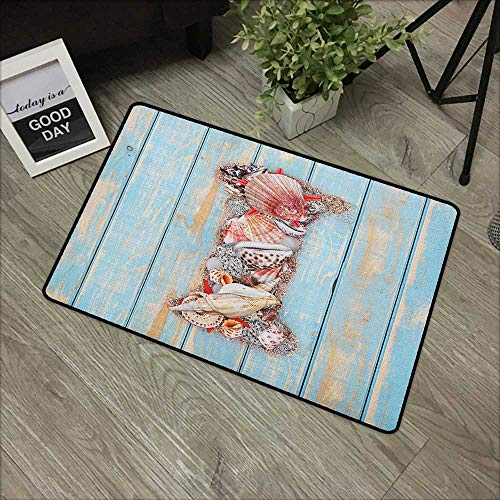 Interior mat W16 x L24 INCH Letter I,Pale Blue Wooden Surface with Ocean Inspired Part Alphabet Print, Pale Blue Ivory Dark Coral Non-Slip, with Non-Slip Backing,Non-Slip Door Mat - Part Thermax