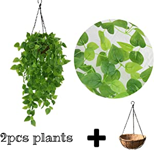 Artificial Hanging Plants Greenery Vines - 2PCS Fake Ivy Leaves with Basket Nearly Nature Real Touch Green Decor