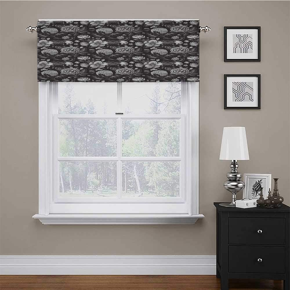"Valances for Bedroom Grey and White Energy Efficient Rod Pocket Valance Elegance of Flourishing Blossoms Artistic Florets Bouquet Anniversary 60"" x 18"" Dark Taupe White"