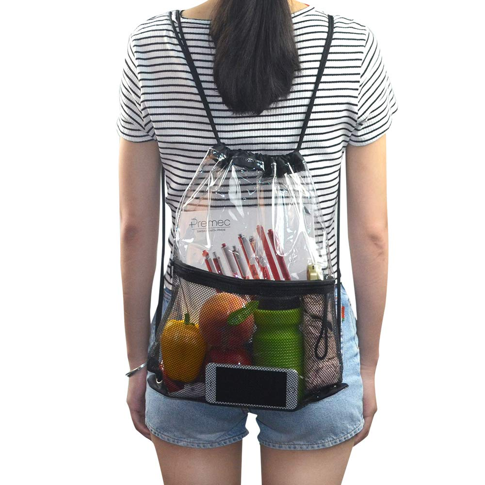 Clear Drawstring Bag, PVC Drawstring Backpack with Front Zipper Mesh Pocket by Magicbags (Image #6)