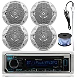 Kenwood MP3/USB/AUX Bluetooth Marine Boat Yacht Stereo Receiver CD Player Bundle Combo with 4 (2 Pairs) JBL MS6510 150 Watt 6.5 Dual Cone White Marine Speaker, 18g 50ft Speaker Wire
