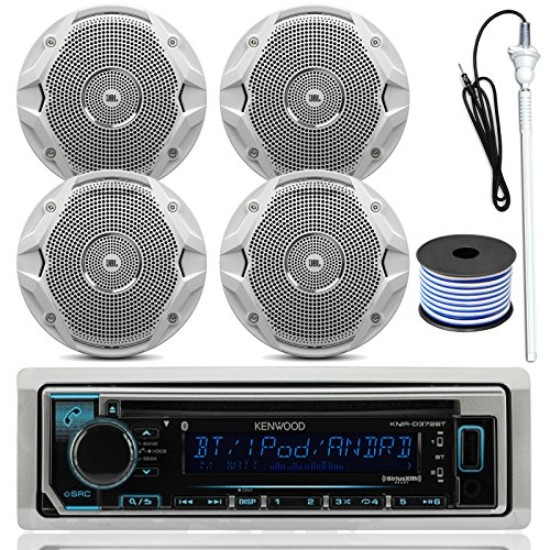 Kenwood MP3/USB/AUX Bluetooth Marine Boat Yacht Stereo Receiver CD Player Bundle Combo with 4 (2 Pairs) JBL MS6510 150 Watt 6.5
