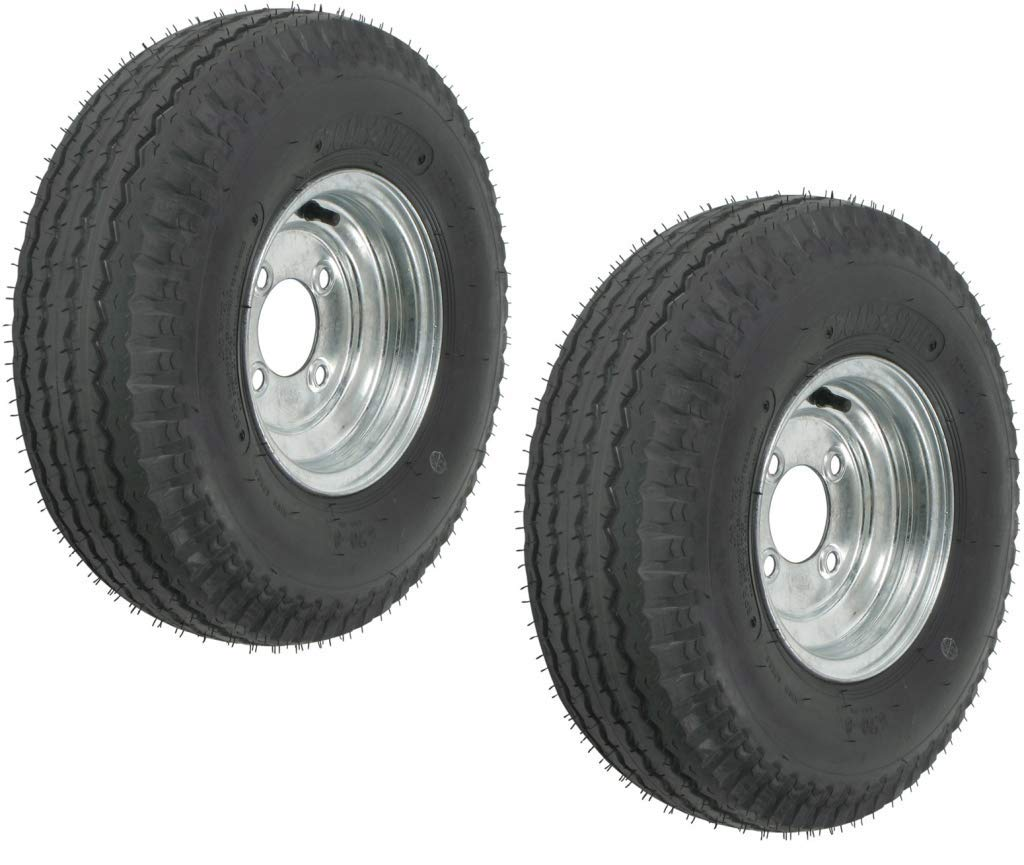 eCustomRim 2-Pack Mounted Trailer Tire On Rim 5.70-8 570-8 4 Hole Galv C 8 in.