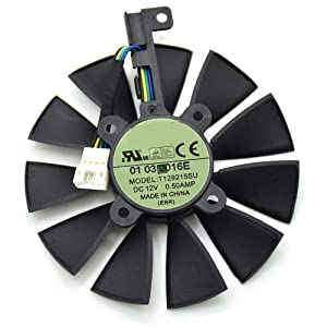 Tebuyus T129215SU 12V 0.5A 87mm 4 Pin Graphics Card Cooling Fan for ASUS Strix GTX980Ti GTX970 GTX980 GTX 1070 GTX 1080 Video Card Cooling Fan