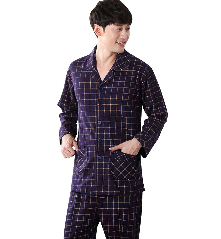 Nice Necuv Cotton Long Sleeve Sleepwear Cotton Pj Comfort Mens Pajama Set free shipping