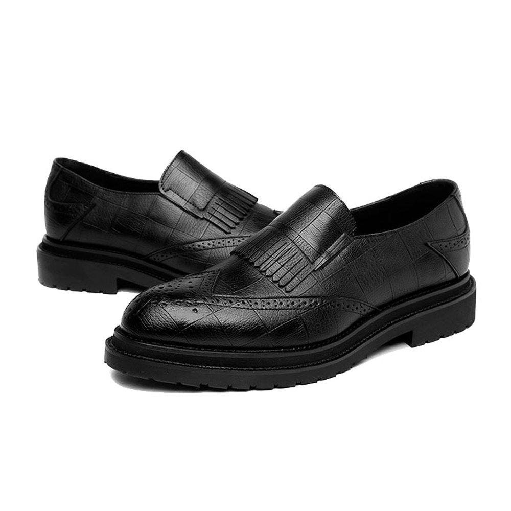 svart FeiNianJsh män s Mode skor herrar PU läder läder läder skor Classic Slip -on Tassel Dekoration Andningsbart Business Lined Outhol Formal Oxfords  upp till 70% rabatt