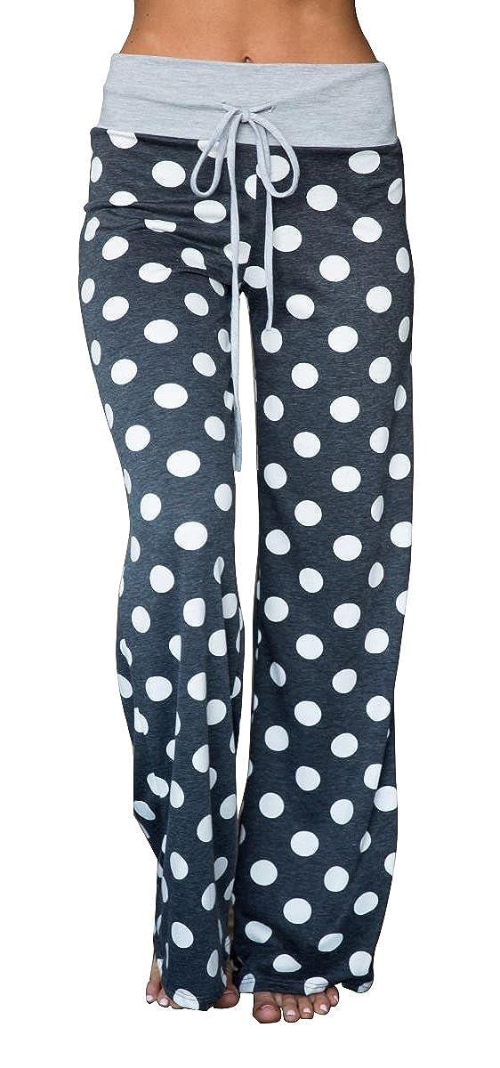 Artfish Women's Stretch Pajama Lounge Pants Polka Dot Striped Sleepwear