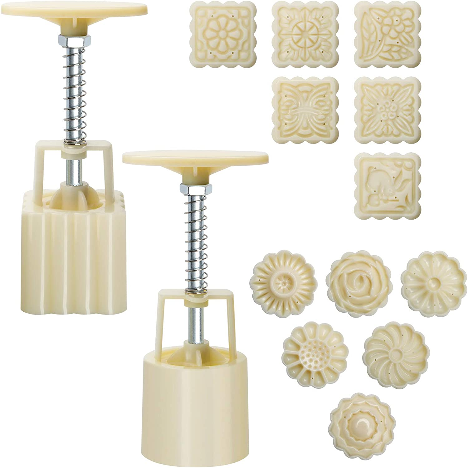 Moon Cake Mould 50g, Luxiv 12 PCS Pattern Hand-Pressure Mooncake Molds for Mid-Autumn DIY Pastry Tool 2 Sets with 6pcs Round Flower Mooncake Mode and 6 Pcs Square Pattern Mooncake Mould (White, 50g)