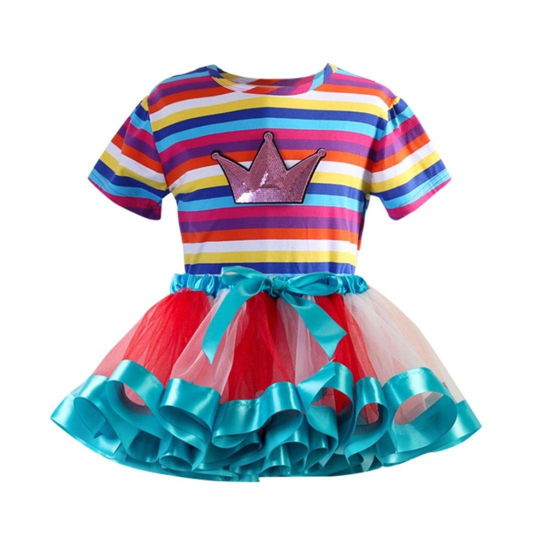 Hatoys 2PC Rainbow Top + Tutu Skirt Party Outfit Skirt Set (S, Blue)