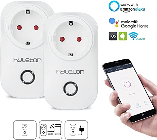 Inteligente WiFi enchufe – hyleton Smart WiFi Plug funciona con Amazon Alexa y Google Home/ifttt dimer Interruptor con App control 2.4 GHz sin Hub necesarios, Blanco (2 pack): Amazon.es: Hogar