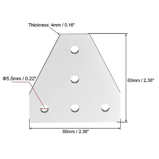 TINGB 2020 Perfil de Aluminio 4 Piezas (Plata) Forma en T Placa de ...