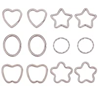 PH PandaHall - Llavero dividido de hierro, 6 Styles Platinum - 24pcs, 6 Sizes
