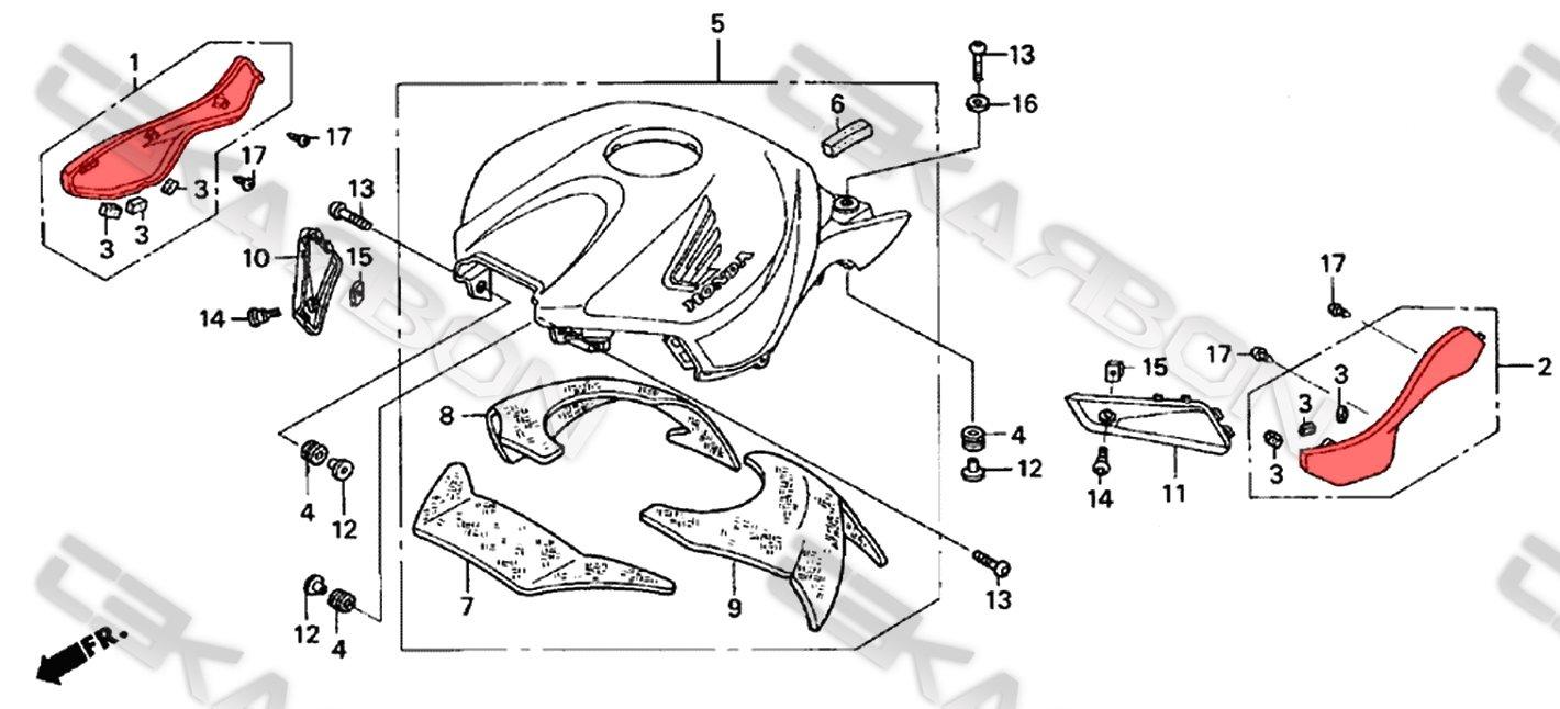 2004 - 2007 Honda CBR1000RR Carbon Fiber Side Tank Panels
