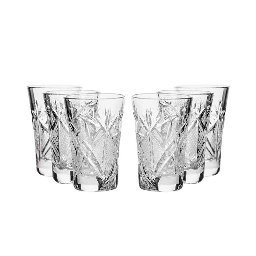 SET of 6 Russian CUT Crystal Shot Glasses 35ml Hand Made