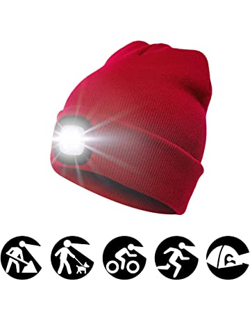 1242eed4752 enjoydeal 4LED Knit Hat Rechargeable Hands Free Headlamp Cap for  Hunting