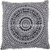 "Euro Sham Pillow Cover with Pom Pom Lace Decorative Floor Cushion 26"" Ethnic Cotton Mandala Cushion Cover (Pattern 11)"