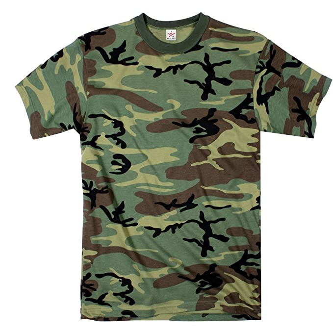 fce25f32 Star and Stripes Army Woodland Camouflage t Shirts, camo Tshirt:  Amazon.co.uk: Clothing