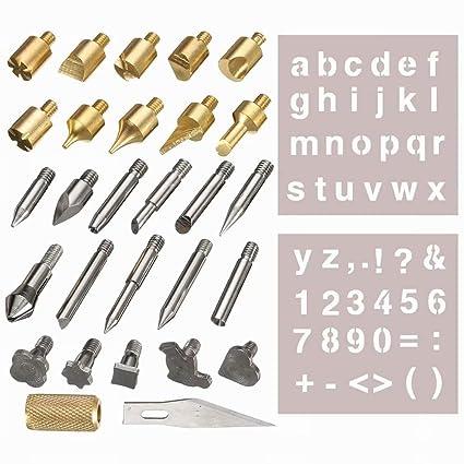 Lifreer 28pcs Pluma de madera ardiente Consejos y Stencil Conjunto Soldador Talla de trabajo Quemador