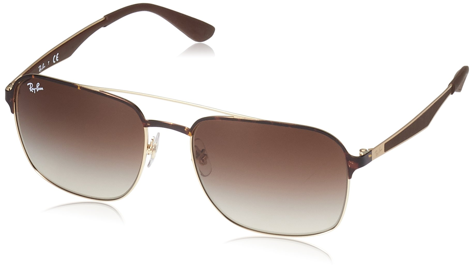 Ray-Ban Metal Unisex Square Sunglasses, Gold Top Havana, 58 mm