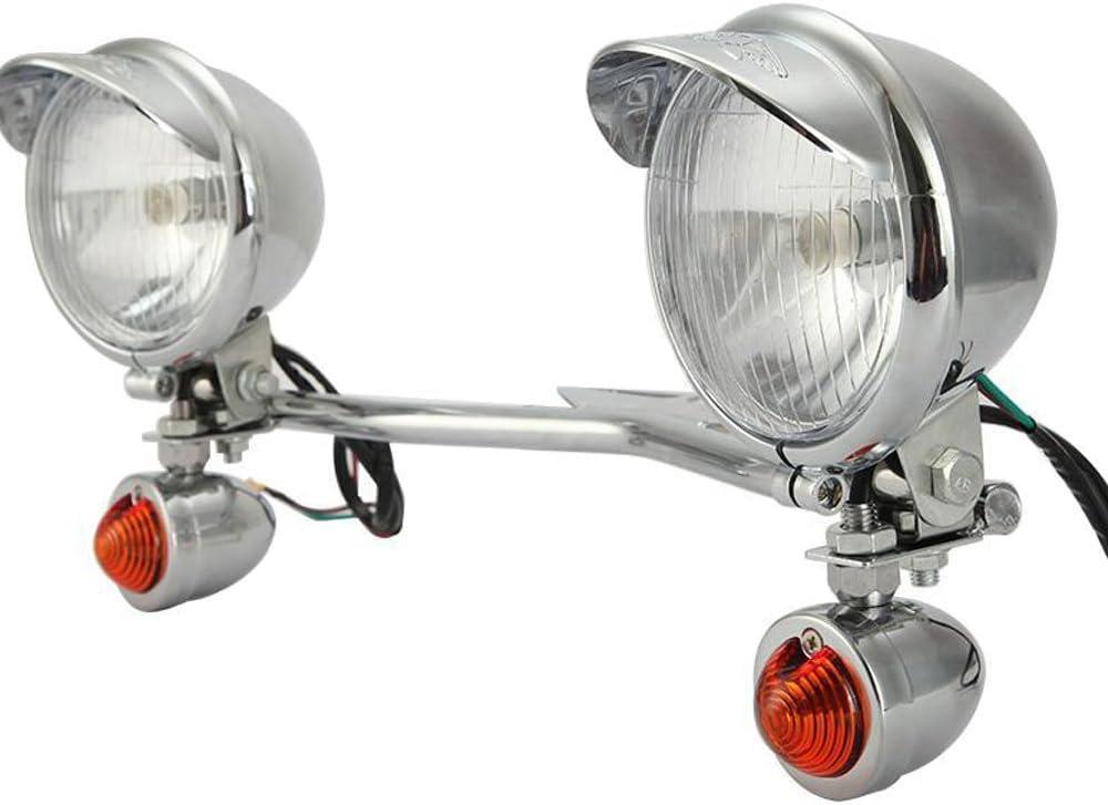 Chrome Front Passing Spot Lights Headlight Lamp Turn Signal Bar Mount For Harley