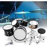 5 piezas estándar Drum Kit batería acústica completa, con 5 tambores y 2 platos, Junior instrumento de percusión Jazz para niños, negro